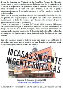 Servicios Sociales de Alcorcón deriva familias en riesgo de quedarse en la calle al 15M Alcorcón
